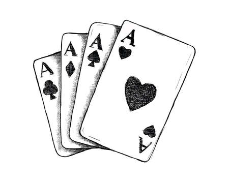 card game gamble or gambling for wild west icon sketch hand drawn illustration isolated with white background 向量圖像