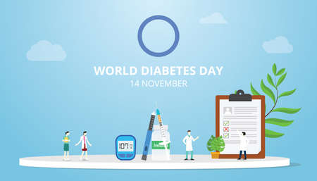 world diabetes day concept on 14 november with people doctor and medical record
