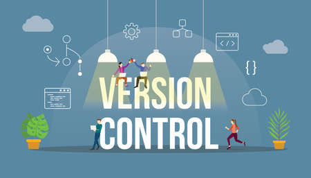 version control technology git code programming with modern icon and team developer people 向量圖像