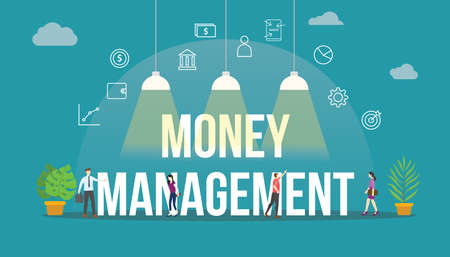 money management concept with team people and modern icon object modern flat