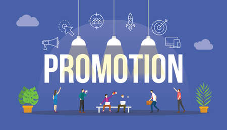 promotion business concept with people and big text word and related icon flat