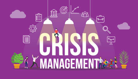 crisis management company concept with people and big text word and related icon flat