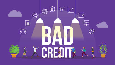 bad credit financial report concept with people and big text word and related icon flat