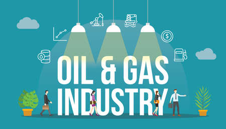 oil and gas industry concept with people and big text word and related icon flat