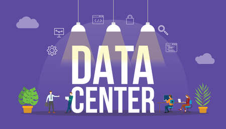 data center technology concept with people and big text word and related icon flat