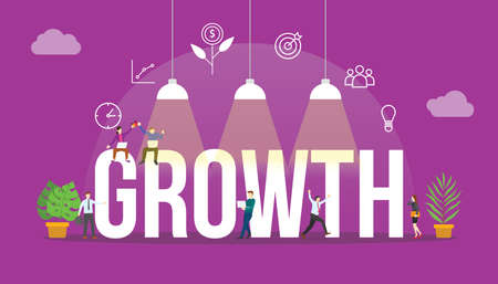 business growth concept with people and big text word and related icon flat