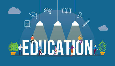 education concept with people and big text word and related icon flat