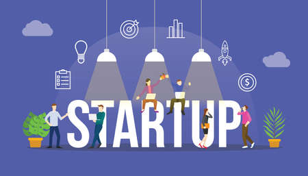 startup business concept with team people and modern icon object modern flat with big text or word