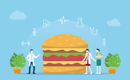 burger junkfood with team doctor analysis and analyze with modern flat style 向量圖像