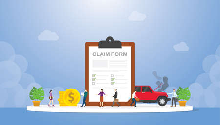 claim form on the clipboard with team people and car crash with modern flat style