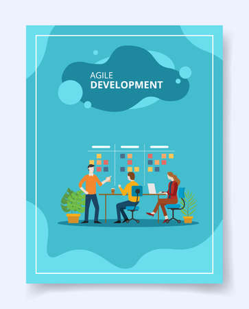 agile development employee training skill up date for template of banners, flyer, books cover, magazines with liquid shape style Ilustração