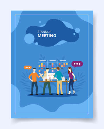 stand up meeting team people discussion on work place template of banners, flyer, books cover, magazines with liquid shape style