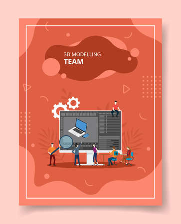 3D modeling team people standing sitting front big computer for template of banners, flyer, books cover, magazines with liquid shape style vector design