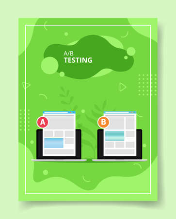 AB testing ui wire frameon laptop compared for template of banners, flyer, books cover, magazines with liquid shape style vector design