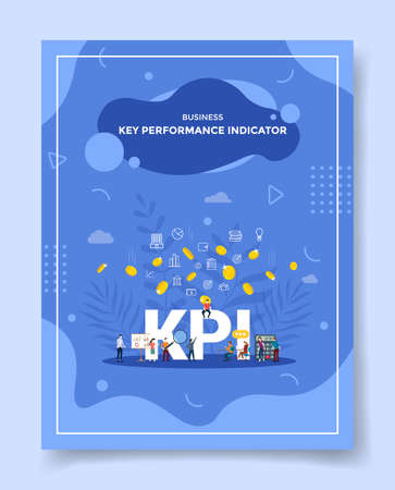 businesskey performance indicator people around word kpi calculator chart board coin gold fall for template of banners, flyer, books cover, magazines with liquid shape style vector design illustration