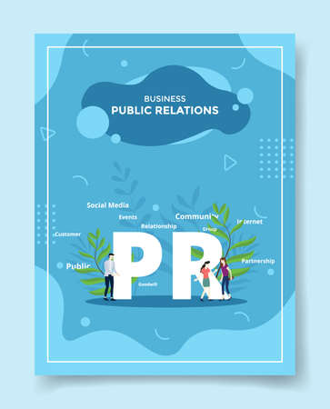 business public relation pr people around word PR for template of banners, flyer, books cover, magazines with liquid shape style vector illustration