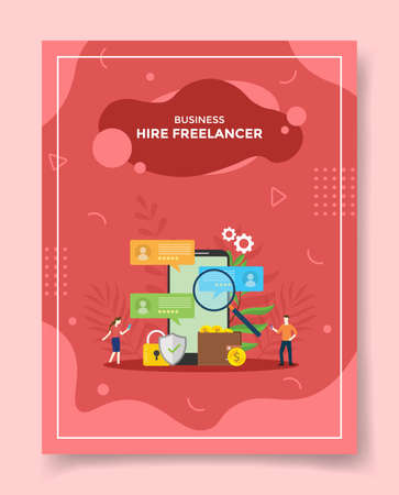 business hire freelancer people around smartphone lupe magnifier find profile candidate padlock shield wallet money coin for template of banners, flyer, books cover, magazines with liquid shape style vector design illustration