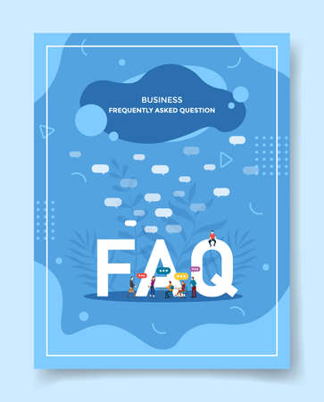 business frequently asked question people around word faq bubble chat for template of banners, flyer, books cover, magazines with liquid shape style vector design illustration