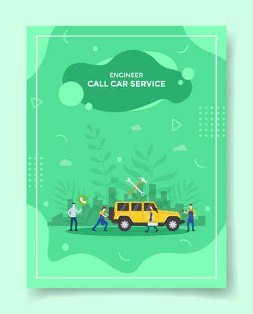 call car service people using phone around car mechanic wrench hummer background of city for template of banners, flyer, books cover, magazines with liquid shape style vector design illustration