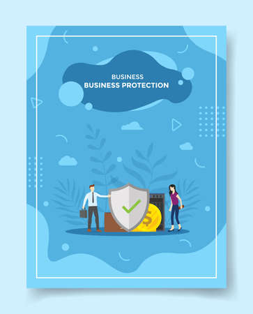 business protection people around shield wallet coin server for template of banners, flyer, books cover, magazines with liquid shape style vector design illustration
