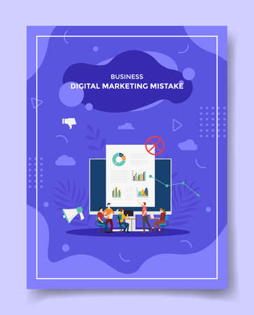 digital marketing mistake concept people discuss around computer monitor chart false for template of banners, flyer, books cover, magazine with liquid shape flat style vector design illustration
