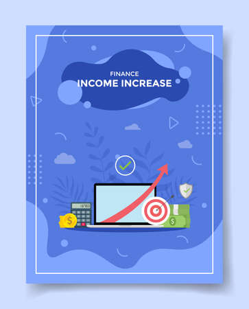 income increase arrow in laptop screen calculator money coin for template of banners, flyer, books cover, magazine with liquid shape flat style vector design illustration