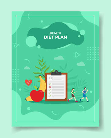 diet plan concept people jogging around clip board banana apple fruit for template of banners, flyer, books cover, magazine with liquid shape flat style vector design illustration