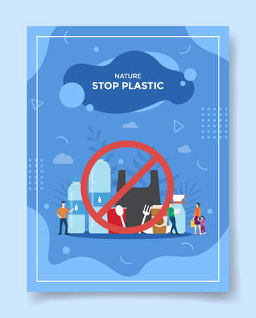 stop plastic concept people around prohibition of using packaging not environmentally friendly for template of banners, flyer, books cover, magazine vector design illustration