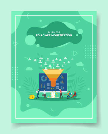 follower monetization concept people around computer funnel money for template of banners, flyer, books cover, magazine with liquid shape flat style vector design illustration