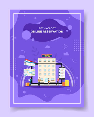 online hotel reservation concept for template of banners, flyer, books cover, magazine vector illustration