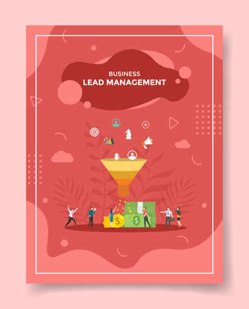 lead management concept for template of banners, flyer, books cover, magazine vector illustration