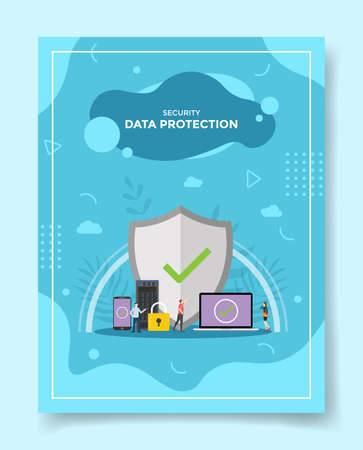 data protection for security concept for template of banners, flyer, books cover, magazine vector illustration