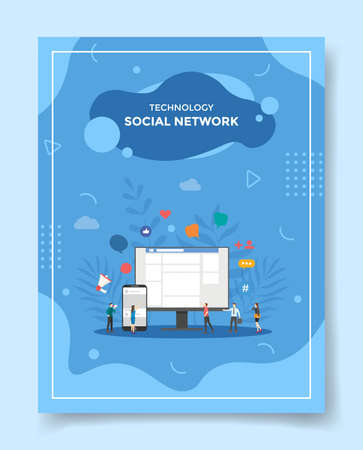 social network concept for template of banners, flyer, books cover, magazine vector illustration