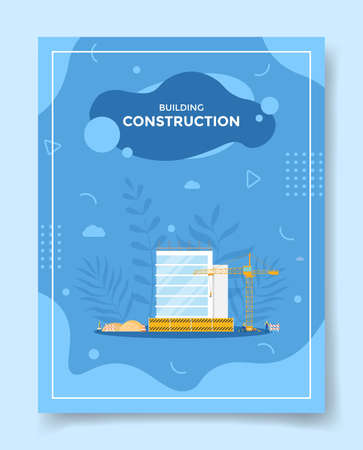 building construction concept for template of banners, flyer, books cover, magazine vector illustration