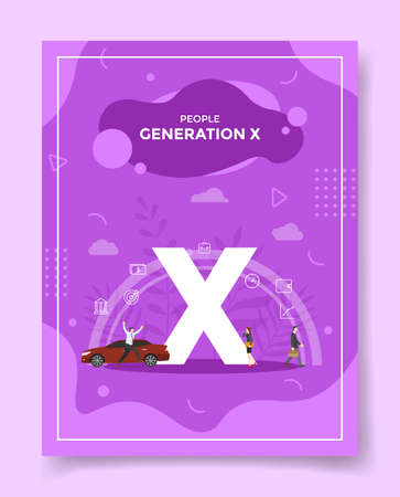 generation x for template of banners, flyer, books cover, magazine vector illustration