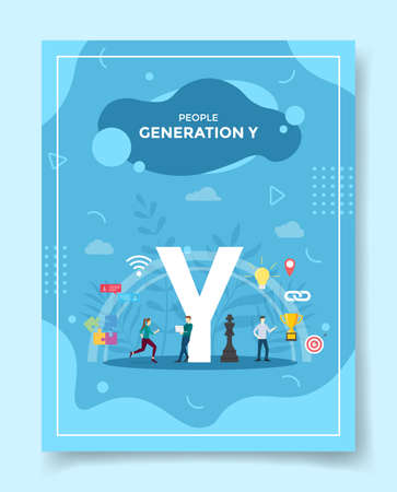 generation y for template of banners, flyer, books cover, magazine vector illustration