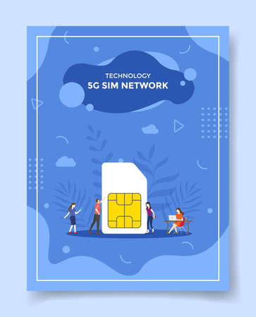 5g sim network concept for template of banners, flyer, books cover, magazine vector illustration