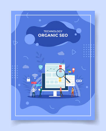 organic seo for template of banners, flyer, books cover, magazine vector illustration
