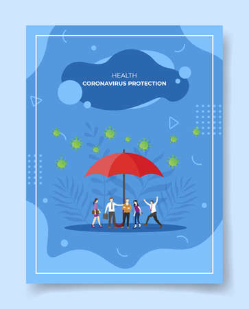 coronavirus protection concept for template of banners, flyer, books cover, magazine vector illustration
