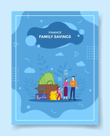 family savings concept for template of banners, flyer, books cover, magazine vector illustration