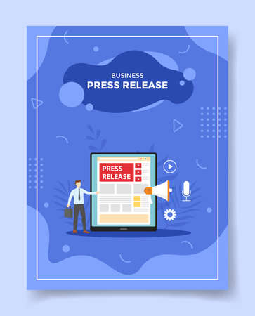 press release concept for template of banners, flyer, books cover, magazine vector illustration Ilustração