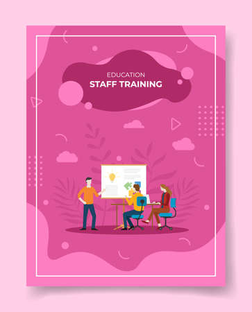 staff training concept for template of banners, flyer, books cover, magazine vector illustration Ilustração