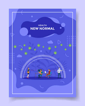 new normal office concept for template of banners, flyer, books cover, magazine vector illustration Ilustração