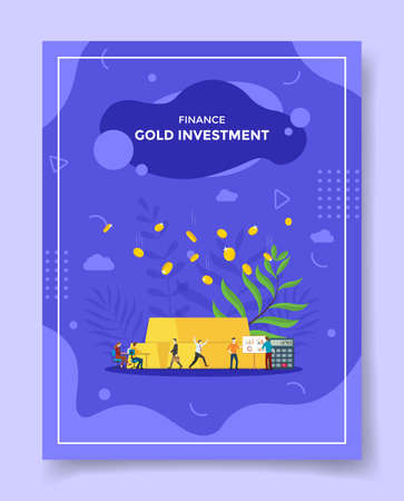 gold investment financial concept for template of banners, flyer, books cover, magazine vector illustration Ilustração