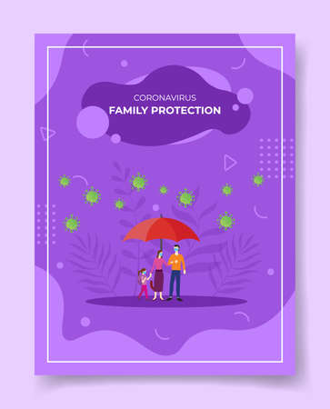 family protection concept for template of banners, flyer, books cover, magazine vector illustration