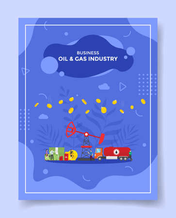 oil and gas industry business profit concept for template of banners, flyer, books cover, magazine vector illustration