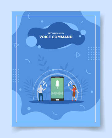 voice control technology concept for template of banners, flyer, books cover, magazine vector illustration