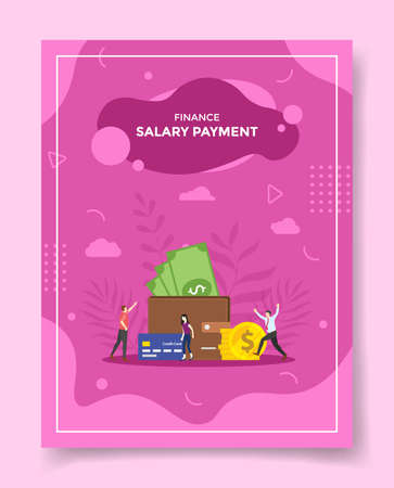 salary payment concept for template of banners, flyer, books cover, magazine vector illustration