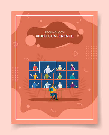 video conference concept for template of banners, flyer, books cover, magazine vector illustration