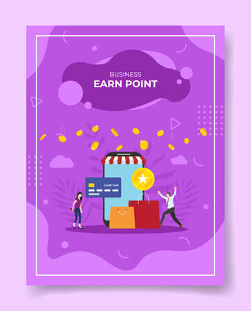 earn point reward concept for template of banners, flyer, books cover, magazine vector illustration